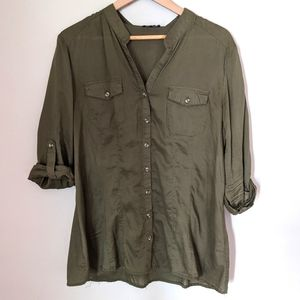 le chateau Olive Green Button-up Shirt